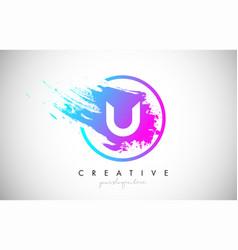 U artistic brush letter logo design in purple vector