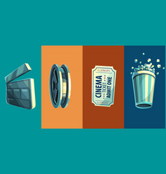 vintage retro icon of cinema vector image