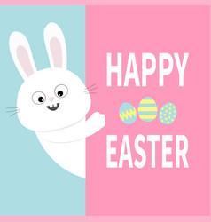 White bunny rabbit holding big signboard cute vector