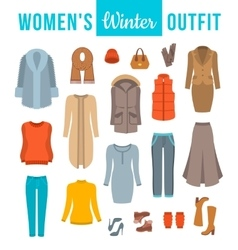 Women winter clothes flat icons set vector