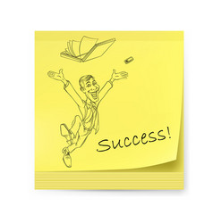 Yellow sticker with man and success on white vector