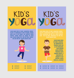 yoga kids vertical flyers vector image