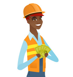 Young african-american builder holding money vector
