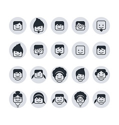 avatar portrait user icon set vector image