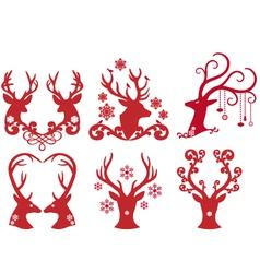 Christmas deer stag heads vector image