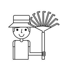 little gardener with rake character icon vector image