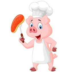 Pig Chef with roasted steak vector image