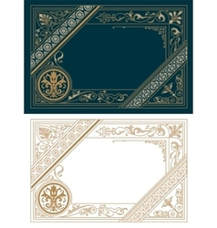 Retro frame template baroque style vector