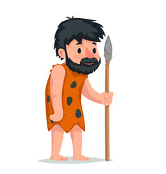 ancient caveman with stone spear character icon vector image