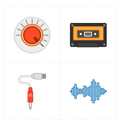 Four universal flat music icons vector