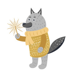 grey wolf in warm yellow sweater with sparkler vector image
