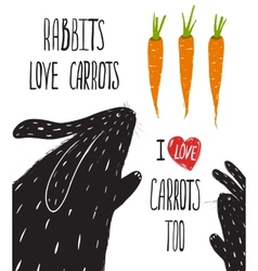 Scratchy Rabbits Love Carrots Lettering vector image vector image