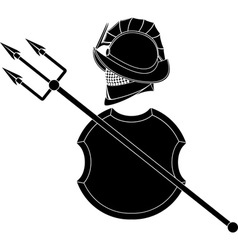 stencil of gladiators helmet with trident vector image vector image