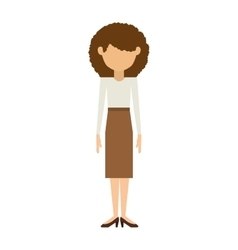 woman with skirt and curly hair vector image