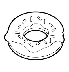 black silhouette cartoon donut with sparks vector image vector image