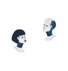 cartoon man woman cyborg heads icon vector image vector image
