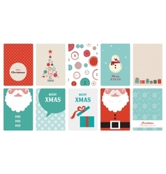 cute collection of vintage christmas greeting vector image vector image