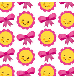 flower and bow baby shower seamless pattern design vector image