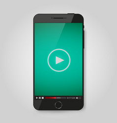 realistic modern phone video player on screen vector image vector image