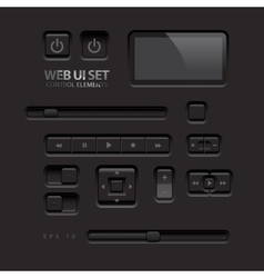 Black Web UI Elements Buttons Switches bars power vector image vector image