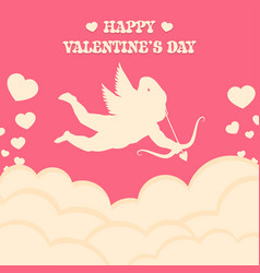 happy valentines day pink cupid shoots a bow vector image