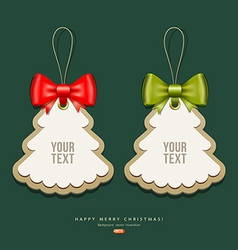 Label paper and ribbons Merry Christmas design vector image vector image