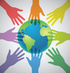 Many Colorful Hands surrounding the Earth Globe vector image