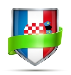 Shield with flag Croatia and ribbon vector image