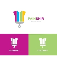 shirt and brush logo combination vector image