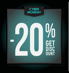 20 percent off holiday discount cyber monday vector image