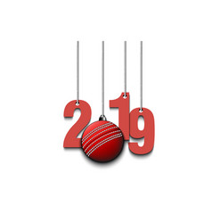 2019 new year and cricket ball hanging on strings vector image
