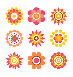 Abstract round fowers made of circle cartoon style vector