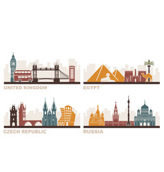 Architectural sights of different countries vector