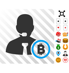 bitcoin operator manager icon with bonus vector image