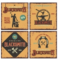 Blacksmith Retro Icon Set vector