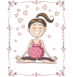 Blissful Pregnant Yoga Cartoon vector image