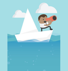 Business concept businessmen in concept with boat vector