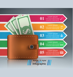 business infographics dollar wallet icon vector image