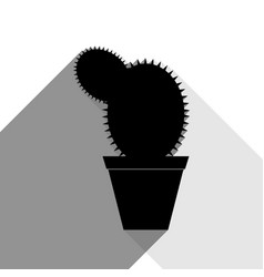 Cactus sign black icon with vector