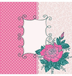 Card with pink rose flowe vector image vector image
