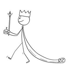 cartoon medieval or fantasy king walking in vector image