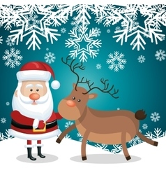 christmas card santa and reindeer snowflakes vector image