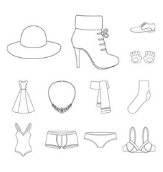 clothes and accessories outline icons in set vector image