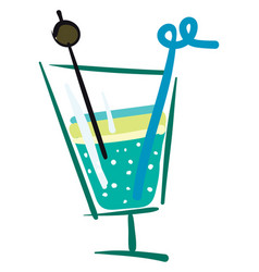 cocktail in a glass color vector image