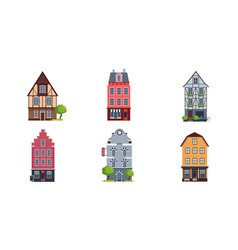 colorful european facades of houses set buildings vector image