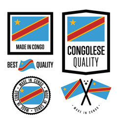 Congo quality label set for goods vector