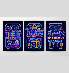 construction neon flyer concepts vector image