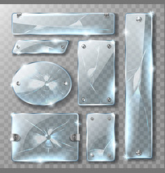 cracked glass banner or plate with metal bolts vector image