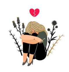 Crying girl with sad feeling vector
