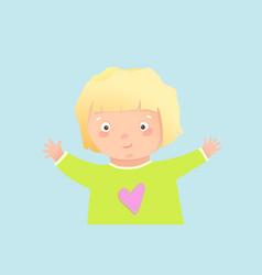 cute blonde toddler girl hugging background design vector image